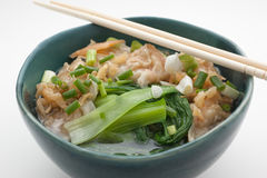 Chinese noodle soup with pork and spinach Stock Image