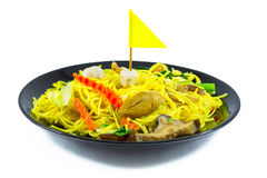 Chinese noodle stir with vegetable, tofu, mushroom. Vegetarian f Royalty Free Stock Image