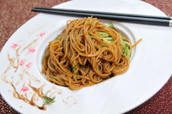 Chinese noodle. Chinese Vegetables diced meat surface Stock Photo