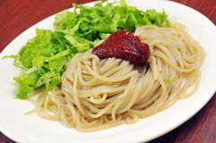 Chinese noodle. Chinese Vegetables diced meat surface Stock Images