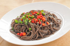 Chinese noodle. Chinese Vegetables diced meat surface Royalty Free Stock Image