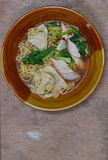 Chinese noodle and wonton topping with barbecue pork Stock Images