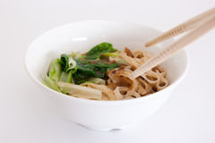 Chinese noodles. Delicious Chinese noodles with cabbages Royalty Free Stock Photo