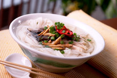 Chinese noodles. Chinese noodle with chicken slices Stock Images