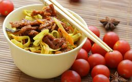 Chinese noodles and beef stock image