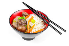 Chinese noodles with beef and vegetables Stock Image
