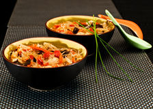 Chinese noodles bowls Stock Images