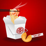 Chinese noodles box with chopsticks and fortune cookie Royalty Free Stock Photography