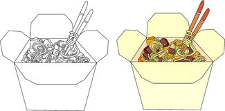Chinese noodles in a box. Coloring book for kids about food Royalty Free Stock Photography