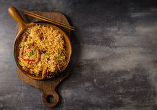 Chinese noodles with chicken. Hot pepper, soy sauce, delish fast meal royalty free stock photo