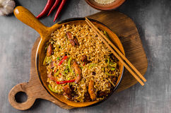 Chinese noodles with chicken. Hot pepper, soy sauce, delish fast meal Stock Photo
