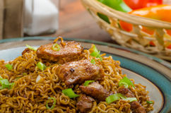 Chinese noodles with chicken and onion Royalty Free Stock Photo