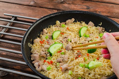 Chinese noodles with chicken Royalty Free Stock Photography