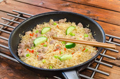Chinese noodles with chicken Stock Photo