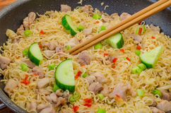 Chinese noodles with chicken Stock Image