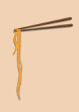 Chinese noodles and chopsticks. Chinese noodles with chopsticks against a clean background Stock Image