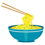 Chinese Noodles and Chopsticks Royalty Free Stock Photography