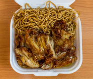 Chinese Noodles with Lemon Chicken. Hawaii Plate Lunch, fried saimin and chicken Stock Images