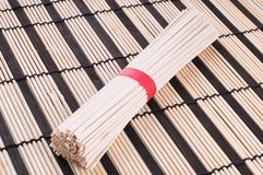 Chinese noodles on the mat Royalty Free Stock Image
