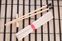 Chinese noodles on the mat Stock Photo