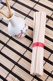 Chinese noodles on the mat Royalty Free Stock Photos