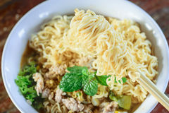 Chinese noodles with minced pork and egg Stock Photography