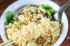 Chinese noodles with minced pork and egg Stock Photos