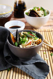 Chinese noodles with mussels Stock Photo