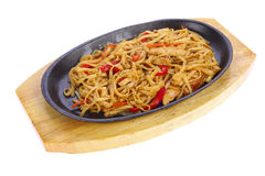 Chinese noodles in a pan Stock Photos