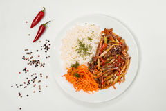 Chinese noodles, rice, carrot Stock Photo