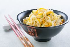 Chinese noodles sauteed with vegetables Stock Photography