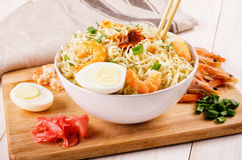Chinese noodles with shrimp Stock Photo
