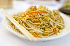 Chinese noodles with shrimps Stock Images