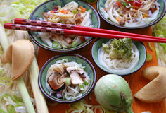 Chinese noodles with toppings royalty free stock photos