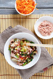 Chinese noodles with tuna in a bowl Stock Photos