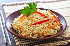 Chinese noodles with vegetables Stock Photo
