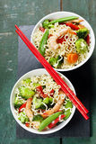 Chinese noodles with vegetables and shrimps Royalty Free Stock Images