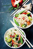 Chinese noodles with vegetables and shrimps Royalty Free Stock Photo