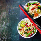 Chinese noodles with vegetables and shrimps Royalty Free Stock Image