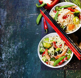 Chinese noodles with vegetables and shrimps Stock Photo