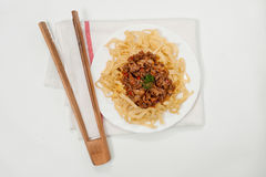 Chinese noodles on white Royalty Free Stock Photos