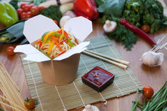 Chinese noodles in wok box. Very delicious and spicy Royalty Free Stock Image