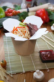 Chinese noodles in wok box. Very delicious and spicy Royalty Free Stock Images