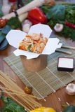 Chinese noodles in wok box. Very delicious and spicy Royalty Free Stock Photos
