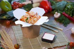 Chinese noodles in wok box. Very delicious and spicy Stock Image