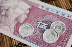 Chinese Notes and Coins Stock Images