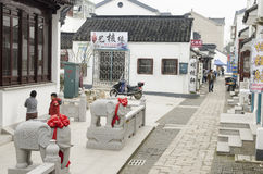 Chinese nuclear carving village. Zhoushan village in southern China, where the charming scenery, traditional architecture white walls and gray tiles, is a Royalty Free Stock Photo