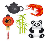 Chinese Objects Set. With Panda, Bamboo, Shrimp, Tee Pot, Latern Stock Photo