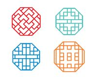 Chinese octagon window frame and symbol in vector. Design royalty free illustration