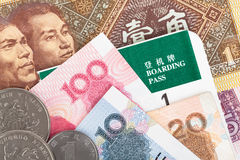 Chinese- oder Yuan-Banknotengeld und -münzen von Chinas Währung, Stockbilder